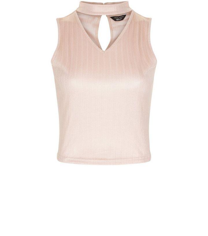 Teens Shell Pink Metallic Cut Out Choker Neck Top  8095e94b6