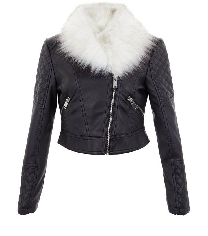 3be6aadc603 Girls Black Faux Fur Trim Quilted Leather-Look Jacket Add to Saved Items  Remove from Saved Items