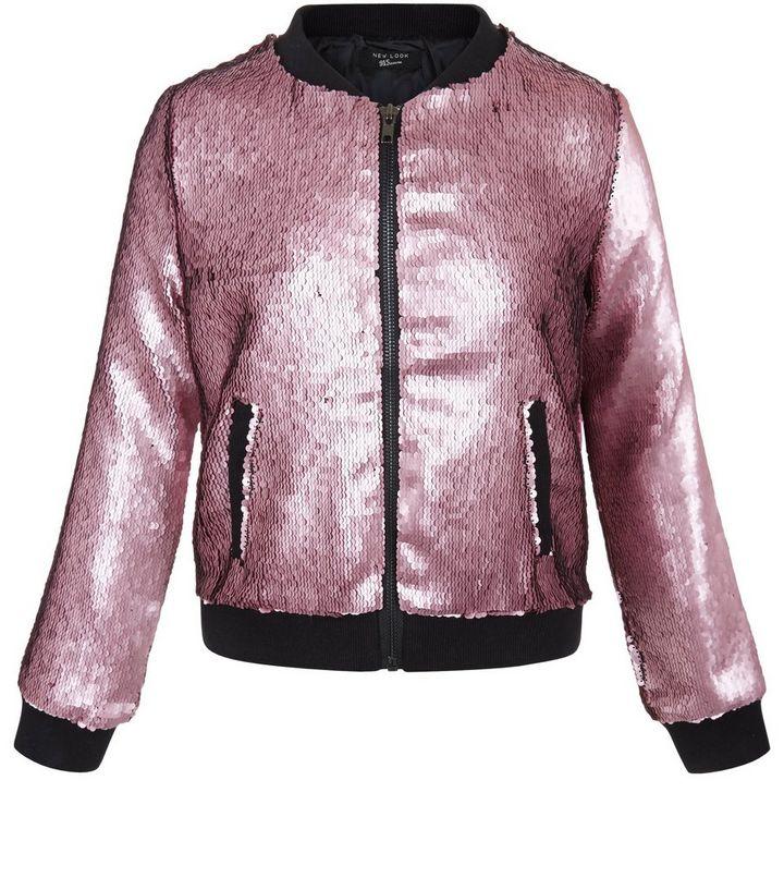 f87780aeb Girls Pink Sequin Bomber Jacket | New Look