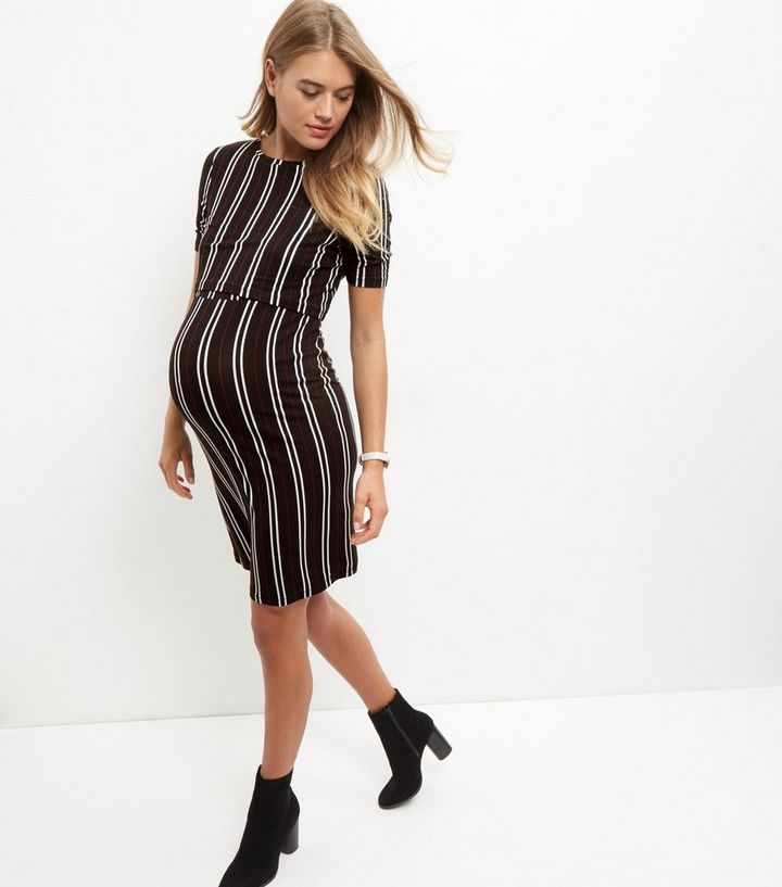 bee8437a51d3 Maternity Black Stripe Layered Nursing Dress