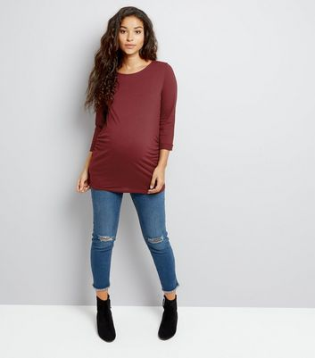 Maternity Burgundy 3/4 Sleeve Top New Look