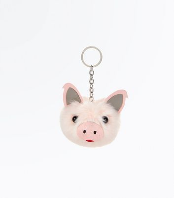 Shell Pink Faux Fur Piglet Pom Pom Keyring New Look