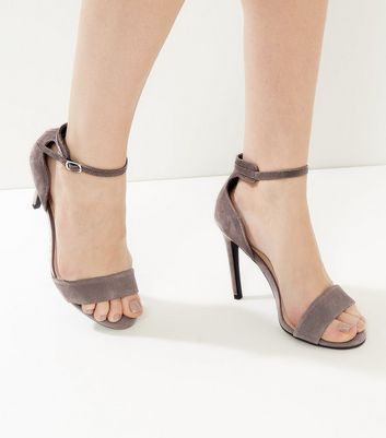 Grey Suede Ankle Strap Heeled Sandals