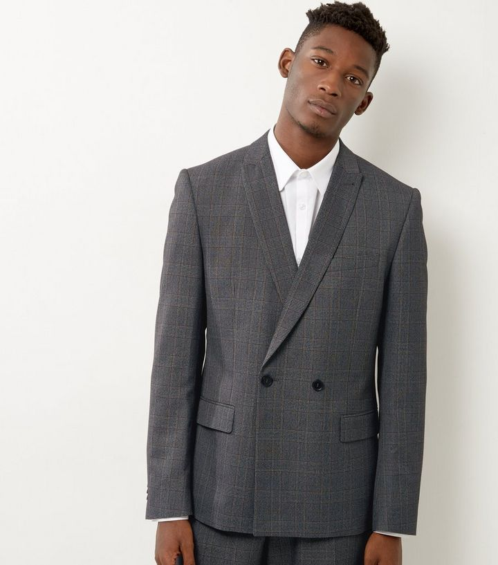 707549cdaf55 Light Grey Check Slim Fit Double Breasted Suit Jacket | New Look