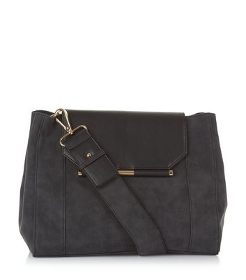 Black Suedette Shoulder Bag New Look
