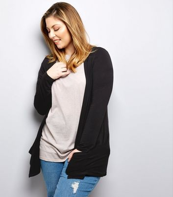 Curves Black Boyfriend Cardigan New Look