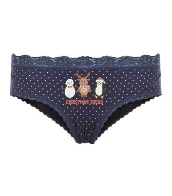 Blue Christmas Squad Polka Dot Print Briefs New Look