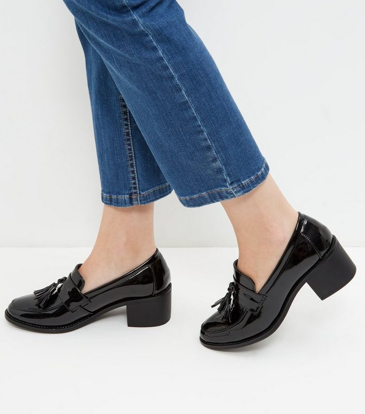 871cd266b24 Black Patent Tassel Block Heel Loafers
