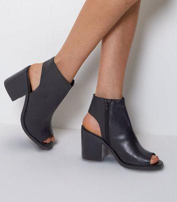 Black Leather Peep Toe Block Heels