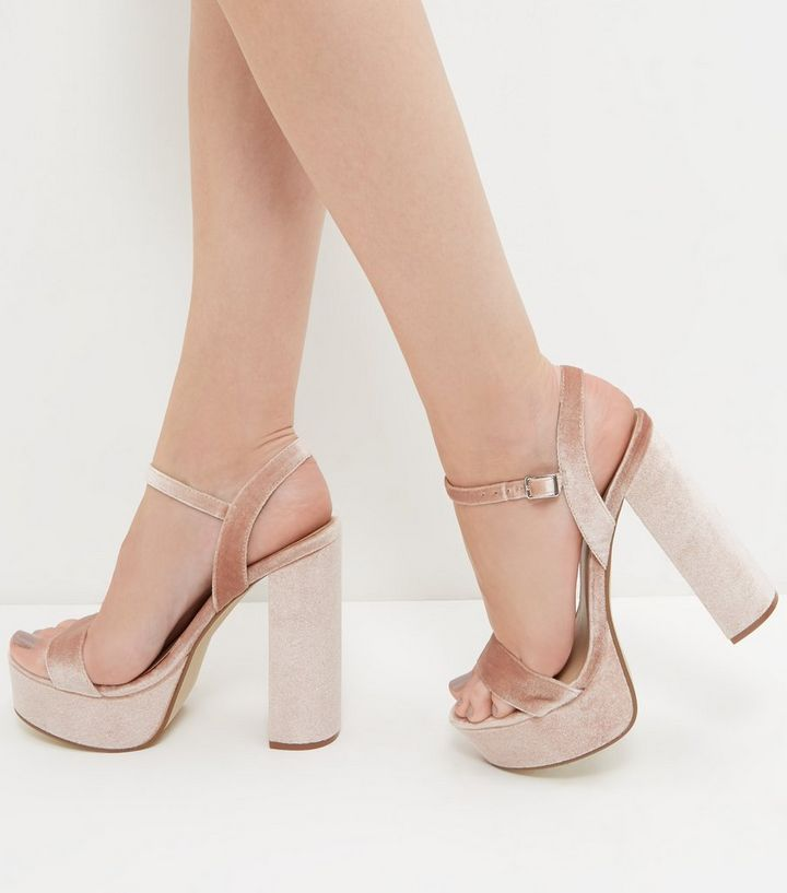 92a9bcb4031 Pink Velvet Ankle Strap Platform Block Heels Add to Saved Items Remove from  Saved Items