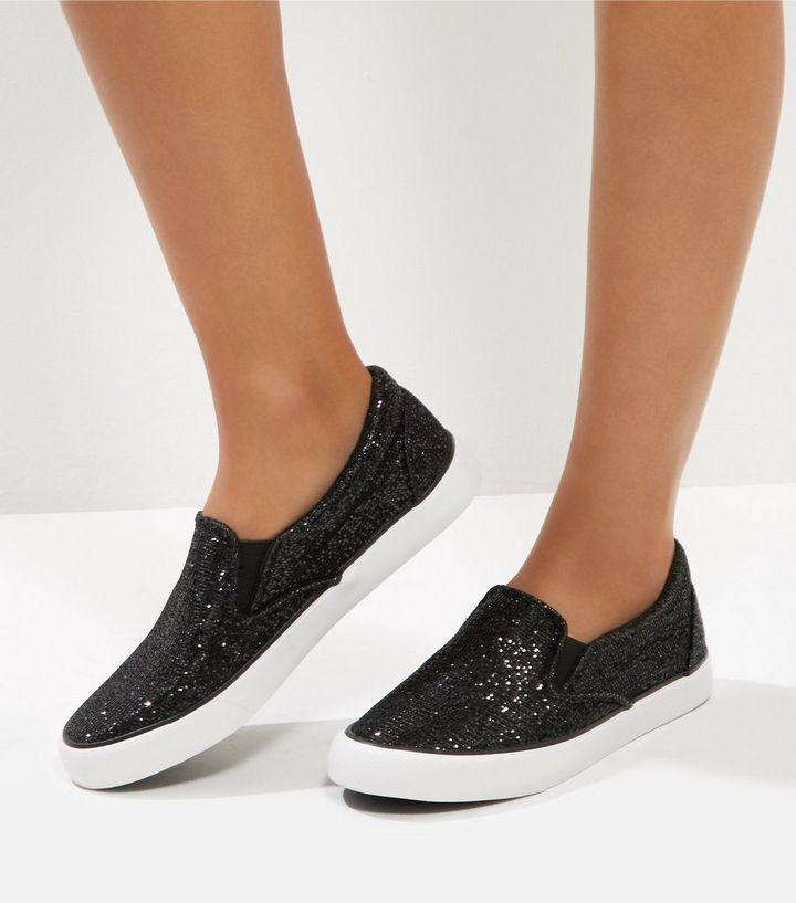 c9a8b259a6e6 Black Glitter Chunky Slip On Plimsolls | New Look