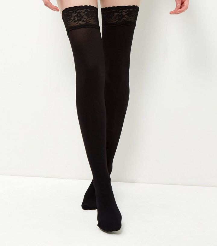 82cfca2ee66 Black Lace Trim Hold Up Tights