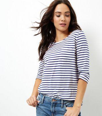 Blue Stripe 3/4 Sleeve Top New Look