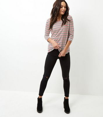 Red and Black Stripe 3/4 Sleeve Top New Look