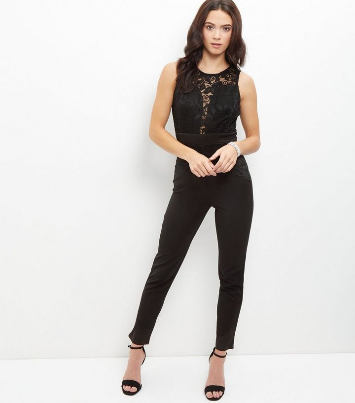 c35845c3a02 Mela Black Lace Panel Jumpsuit