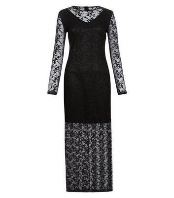 Mela Black Lace Floral Overlay Maxi Dress New Look