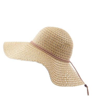 Stone Suedette Plait Trim Floppy Hat New Look