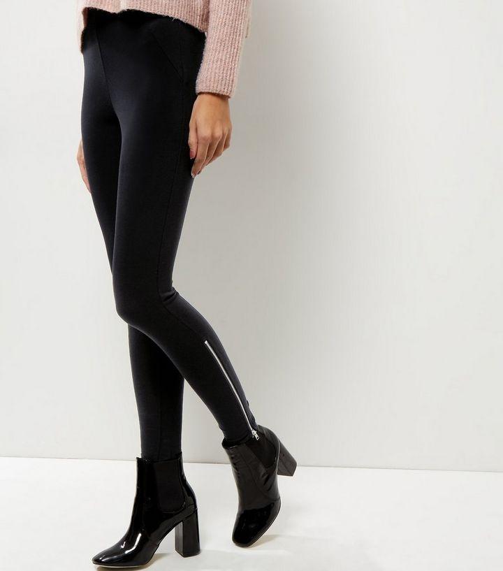 548b85dad04b9 Black Zip Side Leggings | New Look