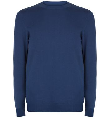 Navy Crew Neck Long Sleeve Sweater New Look