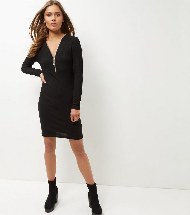 d60507a824aa Black Ribbed Zip Front Bodycon Long Sleeve Mini Dress | New Look