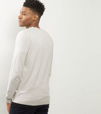 Cream Cotton V Neck Jumper New Look