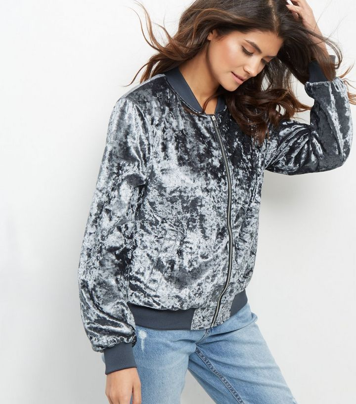 5df360de9 Grey Crushed Velvet Bomber Jacket Add to Saved Items Remove from Saved Items