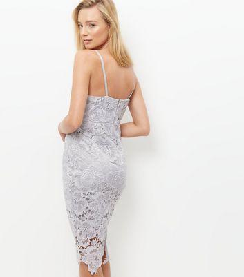 AX Paris Grey Crochet Lace Midi Dress New Look