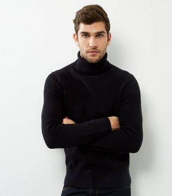 Mens Roll-Neck Jumper Long Sleeved Polo Neck Knitwear Casual Sweater