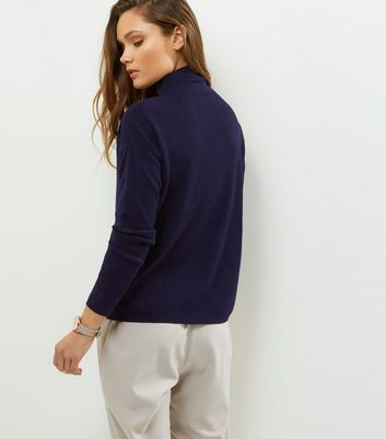 Navy Popper Trim Funnel Neck Jumper New Look