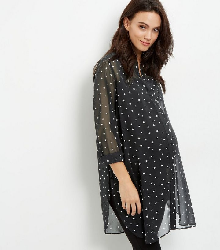 2953c9414f61 Maternity Black Star Print Longline Shirt