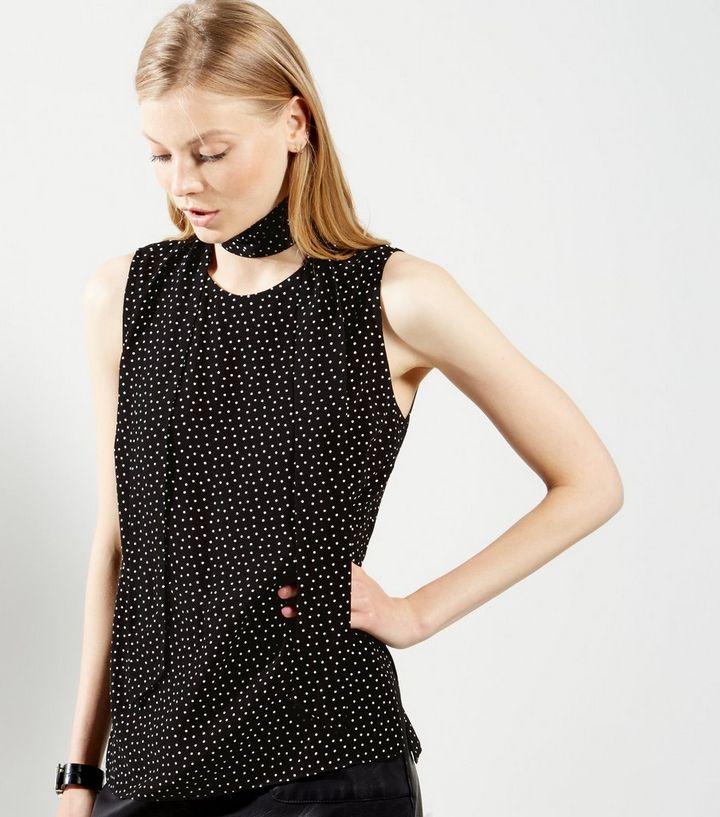 e1d1da8d3a3b21 Black Spot Print Tie Neck Sleeveless Top