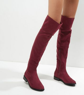 Burgundy Suedette Flat Over The Knee