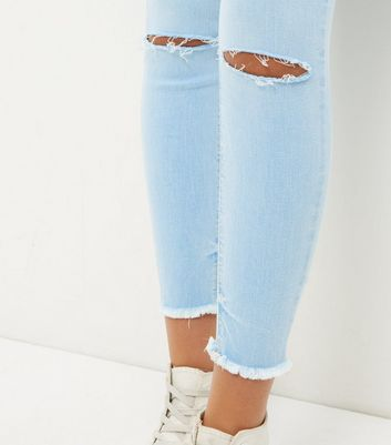 Blue Fray Hem Ripped Knee Skinny Jeans New Look