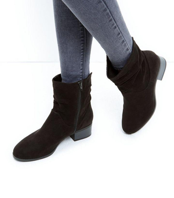 18e72cc6 Wide Fit Black Suedette Zip Side Block Heel Boots | New Look