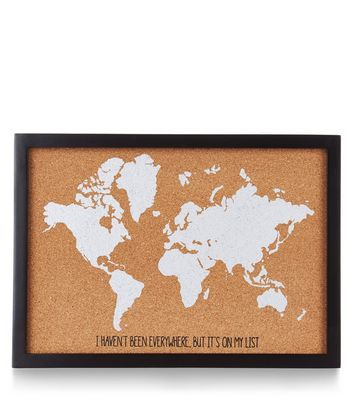 Brown World Map Cork Board New Look