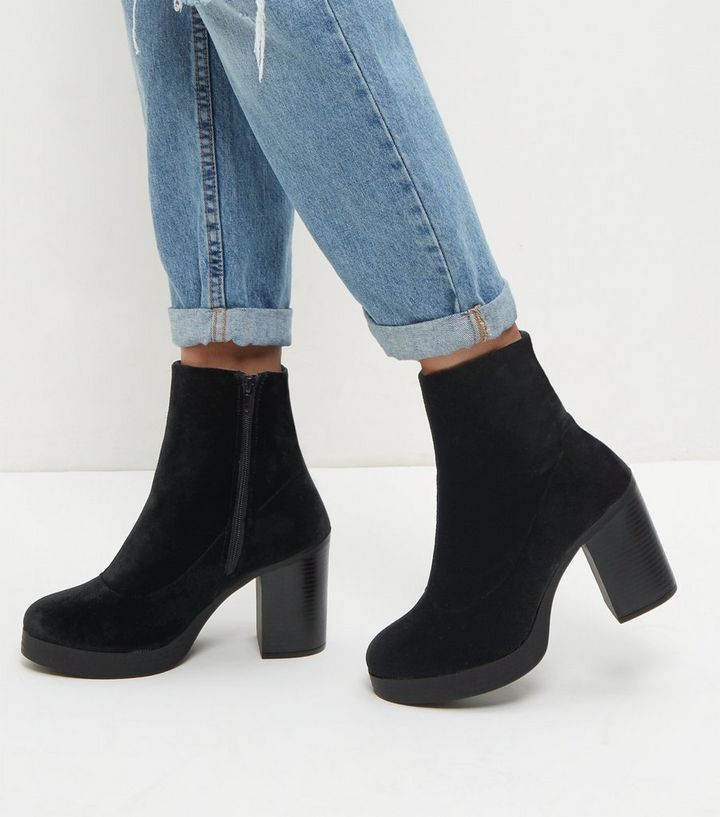 4c541d21 Wide Fit Black Chunky Block Heel Chelsea Boots | New Look