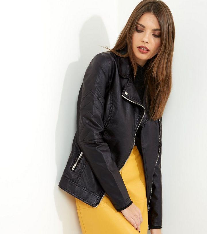 f38e8471f6ba8 Tall Black Leather-Look Biker Jacket