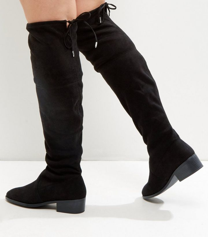 6d1f12dbc9a Wide Fit Black Suedette Tie Up Over The Knee Boots