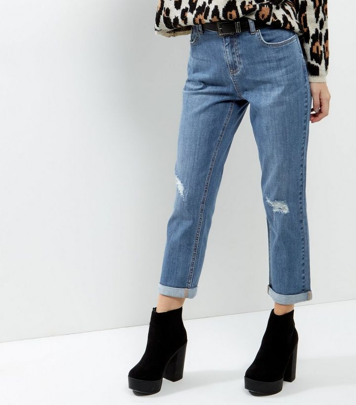 new style & luxury big sale street price Petite Blue Ripped Knee Boyfriend Jeans Add to Saved Items Remove from  Saved Items