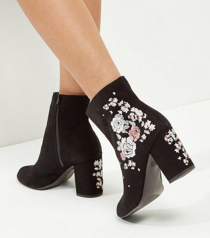 af185d2a Wide Fit Black Suedette Embroidered Block Heel Boots | New Look
