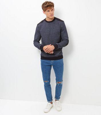Black Suede Patch Crew Neck Sweater New Look