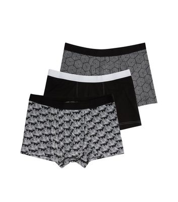 3 Pack Black Geo Print Trunks New Look