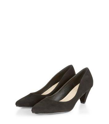 Black Suedette Pointed Mid Heels New Look
