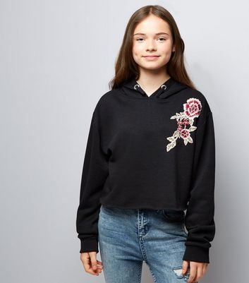 Girls Black Floral Raw Hem Hoodie