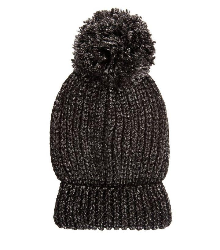 ce981a8cc03 Black Metallic Pom Pom Bobble Hat