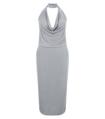 Blue Vanilla Grey Choker Bodycon Midi Dress New Look