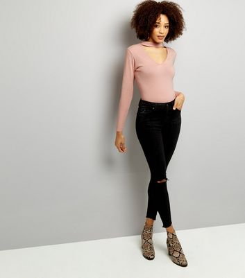 Pink Choker Neck Cut Out Long Sleeve Crop Top New Look