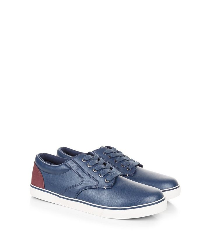 62d90da0528 Navy Contrast Panel Lace-Up Trainers