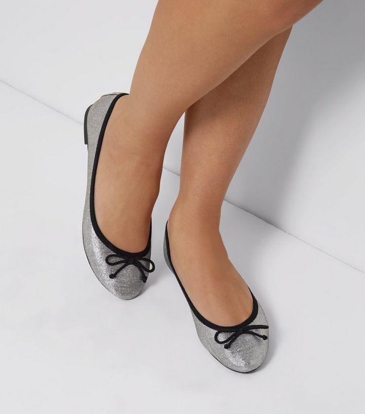Silver Glitter Ballet Pumps New Look