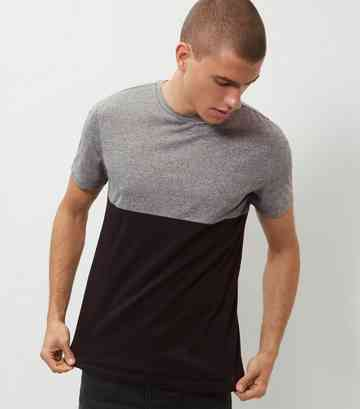 Grey Colour Block T-Shirt